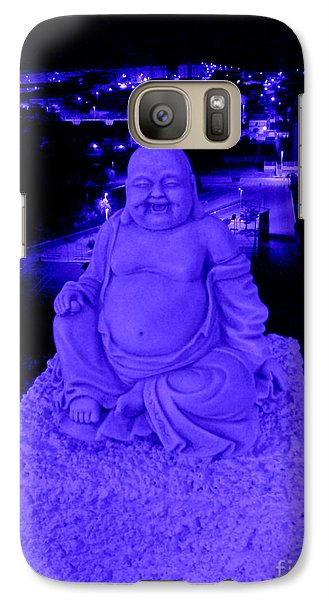 Galaxy Case featuring the photograph Blue Buddha And The Blue City by Linda Prewer