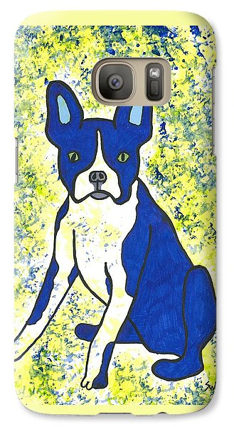 Galaxy Case featuring the painting Blue Bulldog by Susie Weber