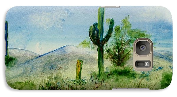 Galaxy Case featuring the painting Blue Cactus by Jamie Frier