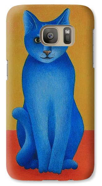 Galaxy Case featuring the painting Blue Cat by Pamela Clements