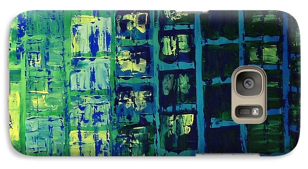 Galaxy Case featuring the painting Blue City 2 by Linda Bailey