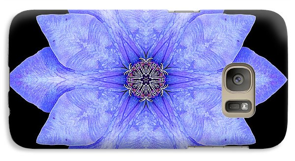Galaxy Case featuring the photograph Blue Clematis Flower Mandala by David J Bookbinder