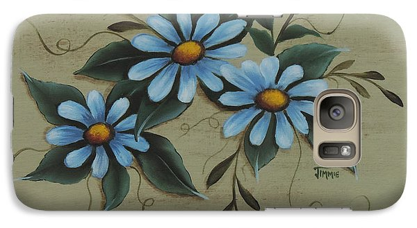 Galaxy Case featuring the painting Blue Daisies by Jimmie Bartlett