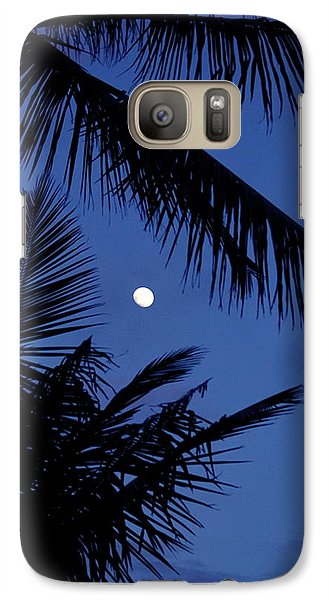 Galaxy Case featuring the photograph Blue Dawn Moon by Lehua Pekelo-Stearns
