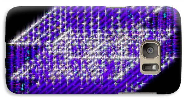 Galaxy Case featuring the mixed media Blue Diamond Grid by Carl Hunter