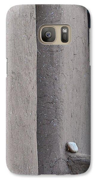 Galaxy Case featuring the photograph Blue Door Gray Walls by Nadalyn Larsen