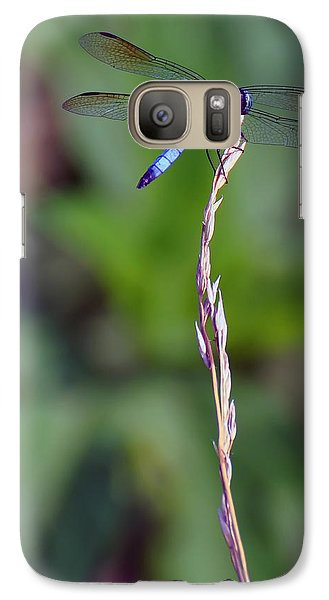 Blue Dragonfly On A Blade Of Grass  Galaxy S7 Case