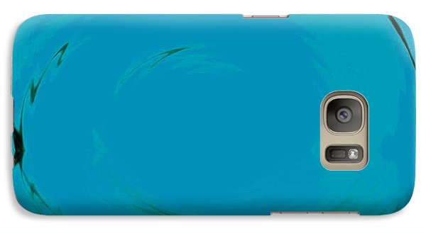Galaxy Case featuring the digital art Blue Oval by Phoenix De Vries