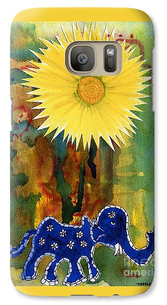 Galaxy Case featuring the painting Blue Elephant In The Rainforest by Mukta Gupta
