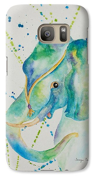 Galaxy Case featuring the painting Blue Elephant by Tamyra Crossley