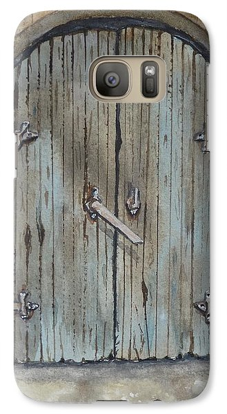 Galaxy Case featuring the painting Blue Entrance Door Has Stories by Kelly Mills