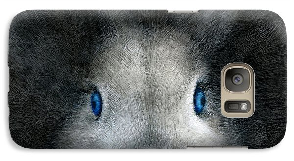Galaxy Case featuring the drawing Blue Eyes by Penny Collins