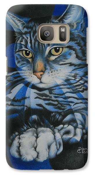 Galaxy Case featuring the painting Blue Feline Geometry by Pamela Clements