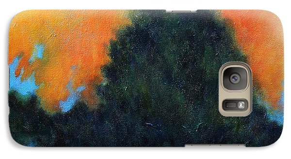 Galaxy Case featuring the painting Blue Flame by Alison Caltrider