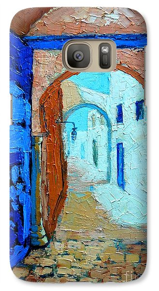 Galaxy Case featuring the painting Blue Gate by Ana Maria Edulescu