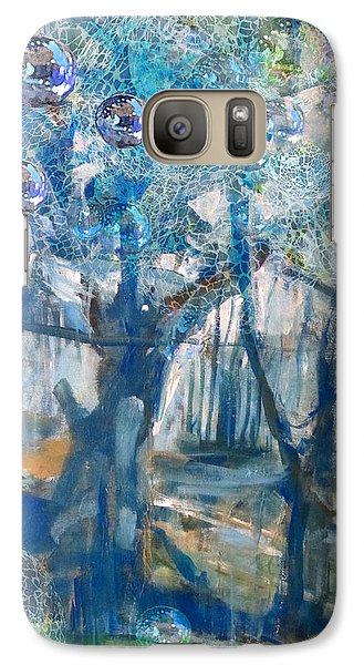 Galaxy Case featuring the mixed media Blue Glass Bead Tree by John Fish