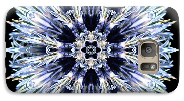 Galaxy Case featuring the photograph Blue Globe Thistle Flower Mandala by David J Bookbinder