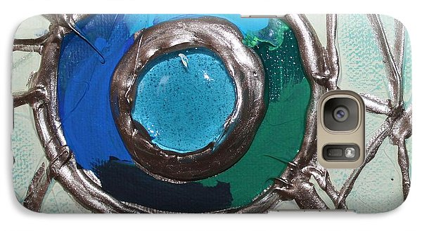 Galaxy Case featuring the painting Blue Green And Gold Circle by Cynthia Snyder