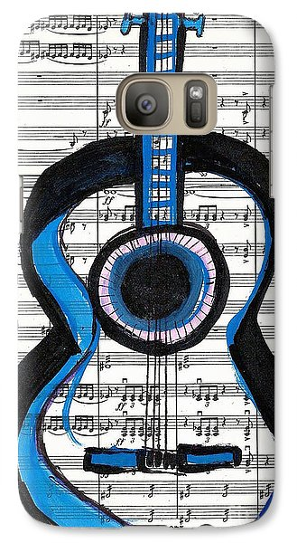 Galaxy Case featuring the drawing Blue Guitar Music by Ecinja Art Works