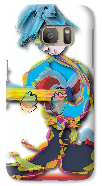 Blue Hair Guitar Player Galaxy S7 Case by Marvin Blaine