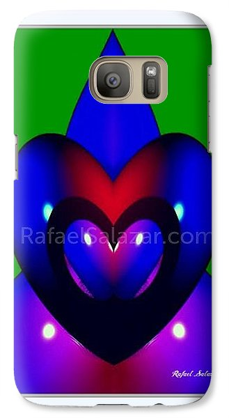Galaxy Case featuring the painting Blue Hearts by Rafael Salazar