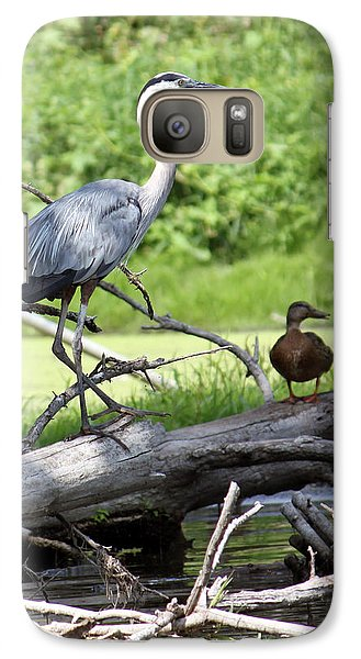 Galaxy Case featuring the photograph Blue Heron And Friend by Debbie Hart