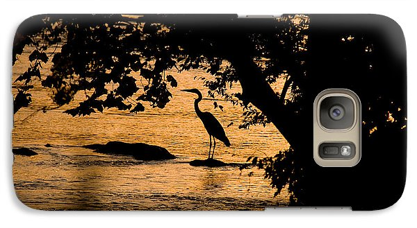 Galaxy Case featuring the photograph Blue Heron At Sunset by Andy Lawless