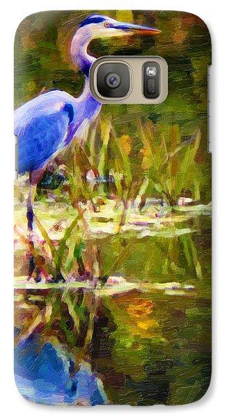 Galaxy Case featuring the digital art Blue Heron by Chuck Mountain