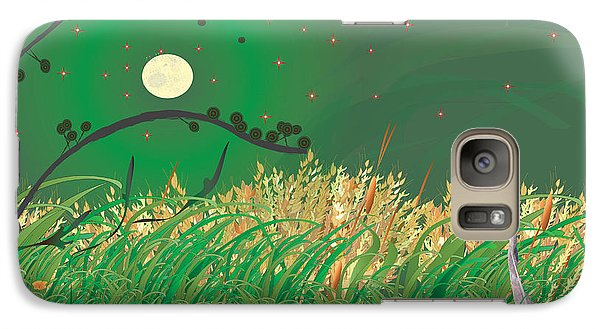 Galaxy Case featuring the digital art Blue Heron Grasses by Kim Prowse