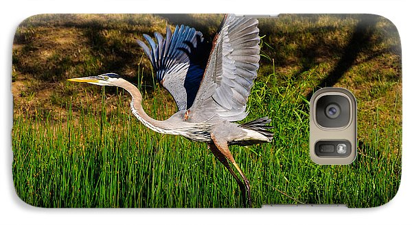 Galaxy Case featuring the photograph Blue Heron In Flight by John Johnson