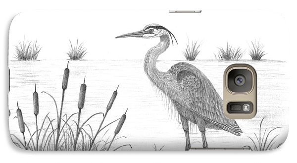 Galaxy Case featuring the drawing Blue Heron by Patricia Hiltz