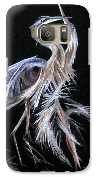 Galaxy Case featuring the painting Blue Herons Mating Dance by LaVonne Hand