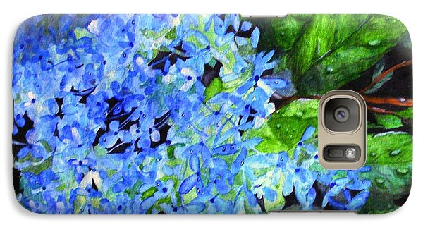 Galaxy Case featuring the painting Blue Hydrangea After The Rain by June Holwell
