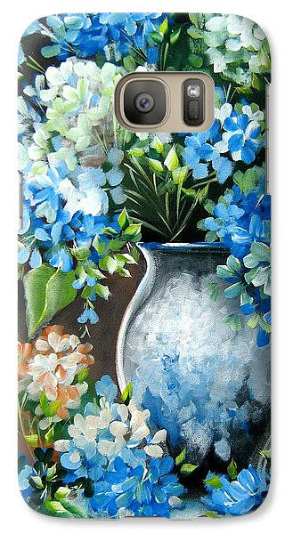 Galaxy Case featuring the painting Blue Hydrangeas by Patrice Torrillo
