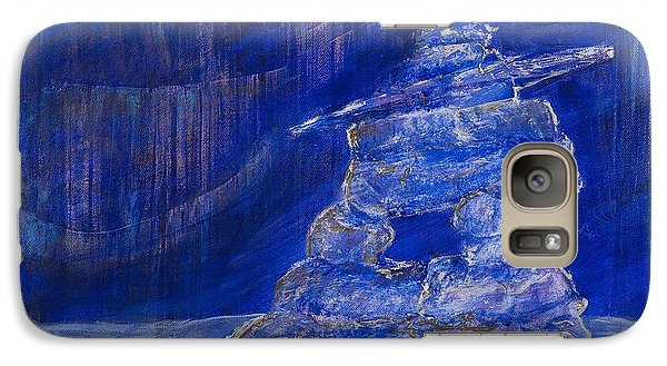 Galaxy Case featuring the painting Blue Inukshuk by Cathy Long