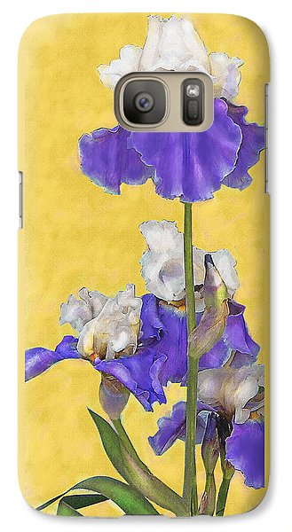 Galaxy Case featuring the digital art Blue Iris On Gold by Jane Schnetlage