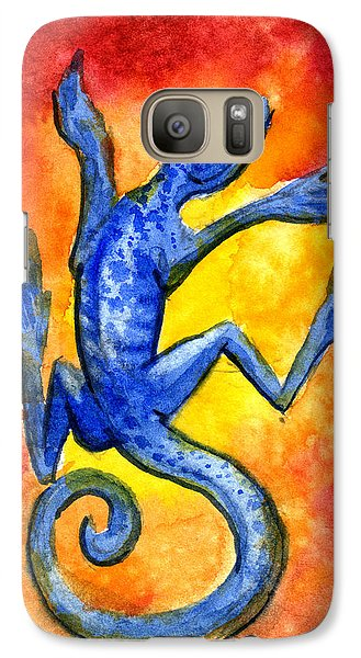 Galaxy Case featuring the painting Blue Lizard by Sean Seal