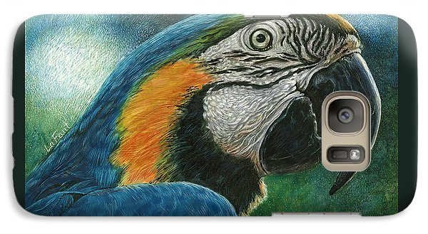 Galaxy Case featuring the drawing Blue Macaw by Sandra LaFaut