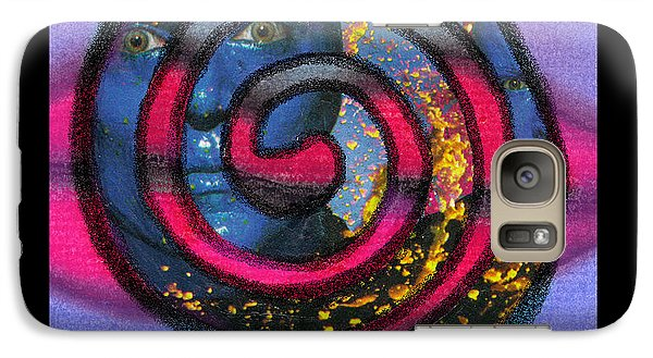 Galaxy Case featuring the mixed media Blue Man Group Spiral by Christine Perry