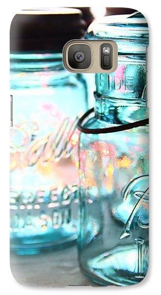 Galaxy Case featuring the photograph Blue Mason Jars by Elizabeth Budd