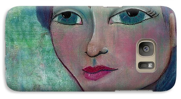 Galaxy Case featuring the mixed media Blue Mermaid Girl by Lisa Noneman