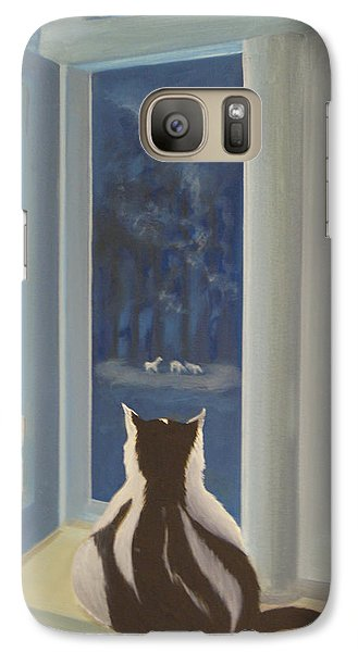 Galaxy Case featuring the painting Blue Moon Dance by Tone Aanderaa