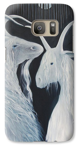 Galaxy Case featuring the painting Blue Moon Goats by Tone Aanderaa