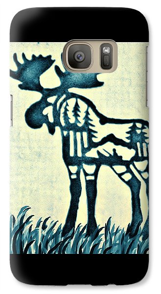 Galaxy Case featuring the pyrography Blue Moose by Larry Campbell