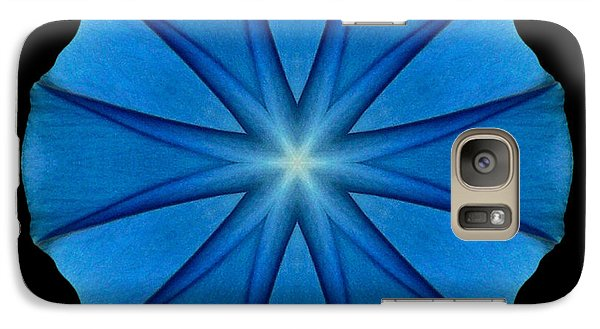 Galaxy Case featuring the photograph Blue Morning Glory Flower Mandala by David J Bookbinder