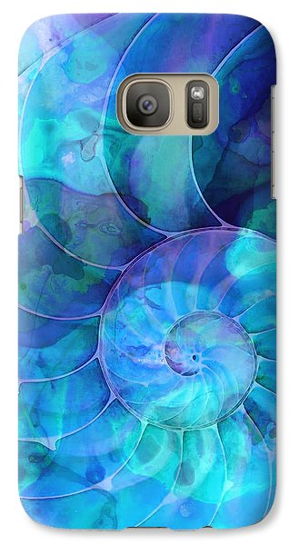 Blue Nautilus Shell By Sharon Cummings Galaxy S7 Case by Sharon Cummings