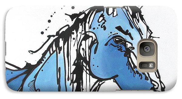 Galaxy Case featuring the painting Blue by Nicole Gaitan