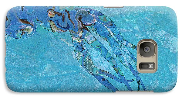 Galaxy Case featuring the painting Blue Octopus by David Klaboe
