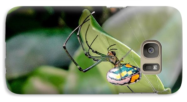 Galaxy Case featuring the photograph Blue Orbweaver by TK Goforth