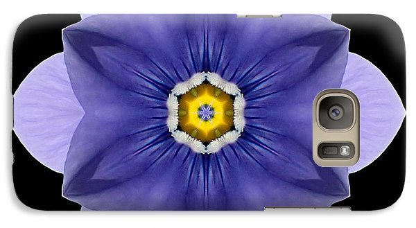 Galaxy Case featuring the photograph Blue Pansy I Flower Mandala by David J Bookbinder